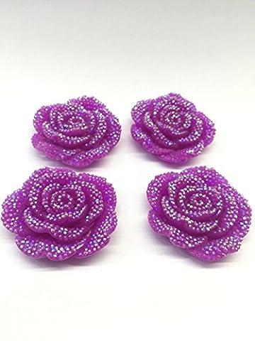MajorCrafts® 3pcs Violet Purple AB 42mm Large Flat Back Chunky Resin Rhinestones Rose Flower Embellishments C3