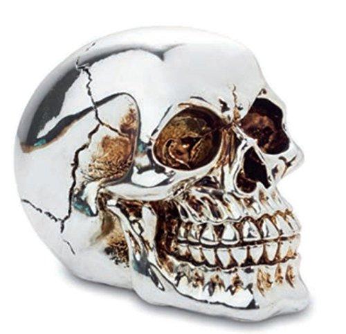Fabulous gótico plateado efecto espejo calavera figura de adorno...