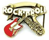 Musica Fibbia della Cintura - Rock n Roll Chitarra Sassofono in Ottone Massiccio - Autentico Baron Buckles Prodotto di Marca