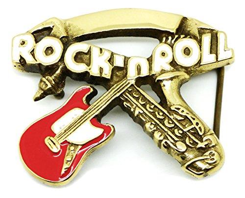 Música Hebilla de Cinturón - Rock n Roll Guitarra Saxofón Latón Macizo - Auténtico Baron Buckles Producto de Marca