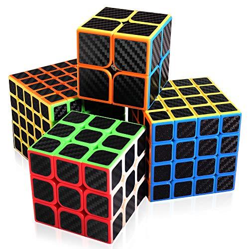 Abwei Cubo, Set di Cubo Magico 2x2 3x3 4x4 5x5 Adesivo in Fibra di Carbonio Cubo di velocità per Puzzle Game e Regalo di Festa(4 pacchi)