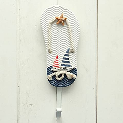 Bluelover Estilo mediterráneo garabato náutica sombrero ropa hogar pared ganchos perchas colgando decoración-#1