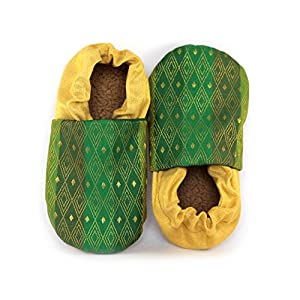 Skips Premium & Comfortable Baby Booties Shoes - Unisex - Non Skid Sole - Handcrafted - Ethnic - Green and Gold