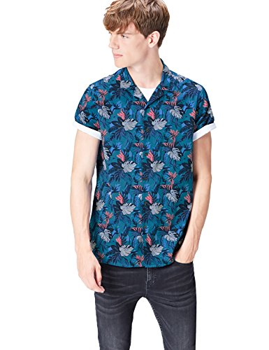FIND Herren Regulär Geschnittenes Kurzarm-Hawaii-Hemd, Grün (Turquoise Tropical), Large (Blumen-hawaii-shirt)