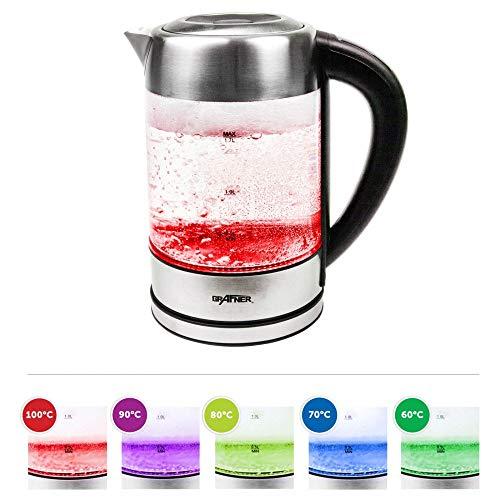 Grafner Glas Edelstahl Wasserkocher mit DECHLORIERFUNKTION | 2200 Watt | 1,7 Liter | LED BELEUCHTUNG | DISPLAY | Farbwechsel