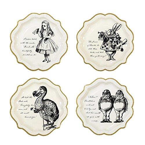 Talking Tables Truly Alice in Wonderland; Pappteller für Geburtstage, Hochzeiten, Teekränzchen und Partys, Verrückte Hutmacher-Party, Cremefarben und Gold, Vintage-Stil, 23 (12 pro Pack in 4 Designs) Alice Teller