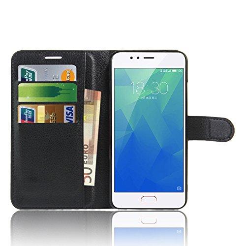 Meizu M5S Custodia , Anzhao Flip Cover Portafoglio con Slot per Schede Protettiva Custodia in Pelle per Meizu M5S (Nero)