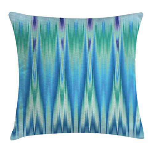 ZMYGH Teal Throw Pillow Cushion Cover, Colorful Ethnic Fabric Pattern Ikat Style Tie Illustration Vertical Geometric Lines, Decorative Square Accent Pillow Case, 18 X 18 inches, Blue Green Geometric Silk Tie