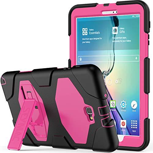 10.1 Hülle - SAYMAC Full Body Robuste-/mit Schutzhülle, Bumper-Hülle mit Ständer für 2016 Samsung Galaxy Tab A6 Tablet-/sm-t580 sm-t585, S Pen-Version Schwarz/Rosa ()