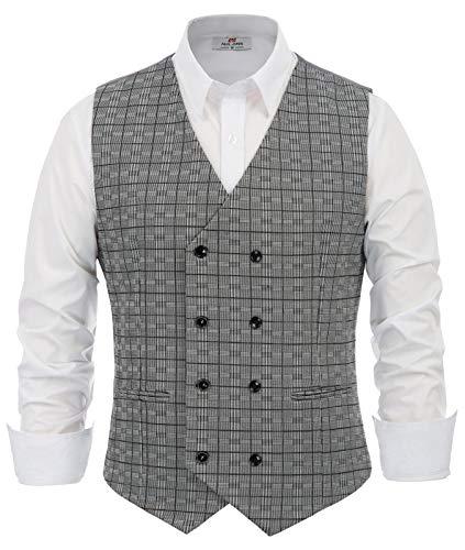 PJ PAUL JONES Herren Slim Grid zweireihig Weste Business Dress Suit Vest - Grau - XX-Large -