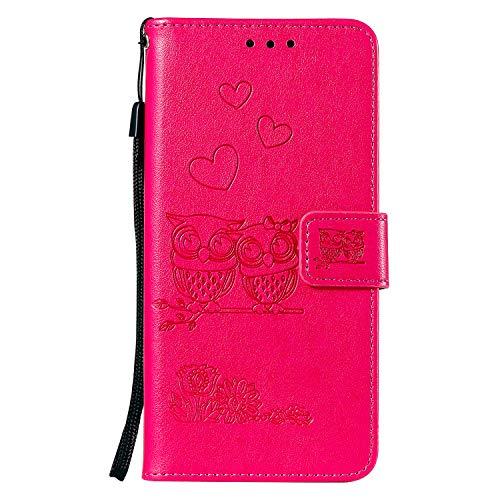 Tosim Sony Xperia Z5 Hülle Leder, Klapphülle mit Kartenfach Brieftasche Lederhülle Stossfest Handy Hülle Klappbar für Sony Xperia Z5 - TOHHA100795 Hot Pink Cover Pink Splash