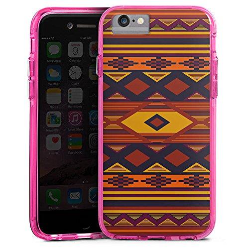 Apple iPhone 6 Bumper Hülle Bumper Case Glitzer Hülle Ethno Indien Indianer Bumper Case transparent pink