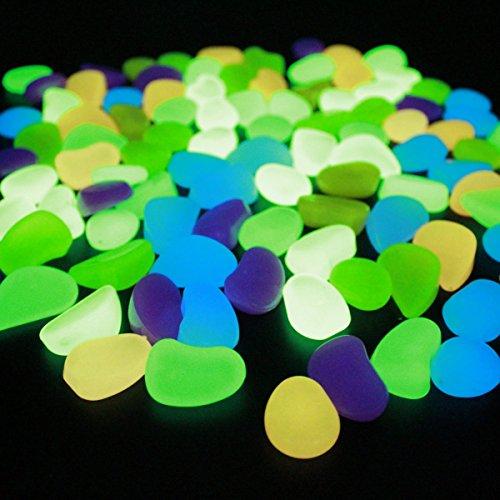 100pcs Nachtsteine glühen In Den Dunklen Kieseln Für Teich-Garten Glühende Garten-Verzierungen Steine Leuchtende Kiesel-Glühen-Steine für Fisch-Behälter,A