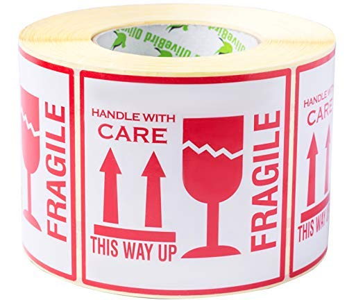 "1,000 Aufkleber""Fragile. This Way Up. Handle With Care"", Etiketten, groß 10 x 10 CM White-red - 1,000 Stück"