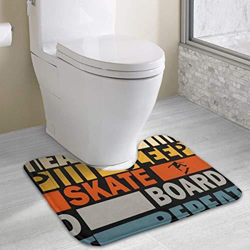 Hoklcvd Essen Sie Schlaf Skateboard Wiederholen Sie U-förmige Toilette Bodenteppich Rutschfeste Toilette Teppiche Duschmatte -