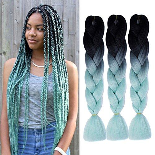 Extensions Colorful Kunsthaar Kanekalon Haar für Heimwerker Crochet Box Zöpfe Ombre 2Tone–Schwarz-Grün–3100g/pcs 61cm (Grüne Hair Extensions)