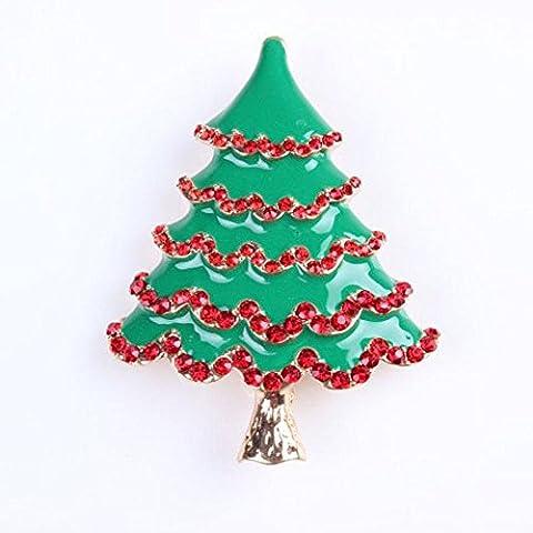 In lega di zinco intarsiato Strass dell'albero di Natale Spille Sciarpe Accessori Abbigliamento Pin per donne e uomini 3 pezzi