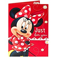 disney minnie mouse in red dress and bow just for you birthday card
