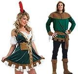 COUPLES ADULTES HOMME ET FEMME Robin des bois demoiselle Marion TV FILM médiéval Outlaw héros méchant déguisement costume déguisement - Vert, Ladies UK 12-14 & Mens Large