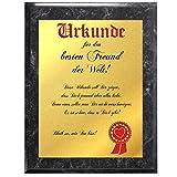 Urkunde für den besten Freund der Welt … (Gold Metallic + marmorierte Holztafel)
