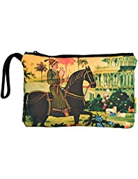 Eco Corner - Indian Art Horse - Pouch - Big - 100% Cotton/Washable/Printed On Both Sides/Zip Closure With Carry...