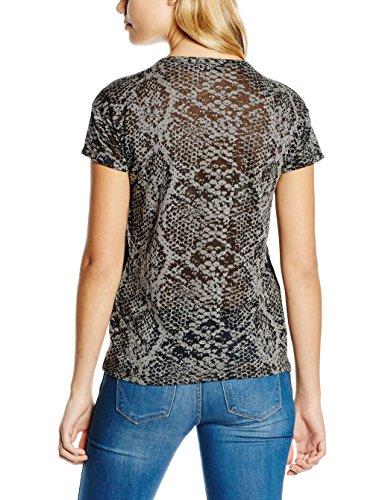 Cortefiel Damen T-Shirt C/Ta Devore Serpiente grau (GREYS)