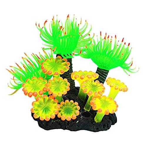 FiedFikt Aquarium, künstliche Korallenpflanzen, Deko, Aquarium, Zubehör, Grünpflanzen, Wassergras, 1 Stück gelb (Aquarium Sand Süßwasser-blau)
