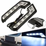 #8: HITSAN Pair 12V 5W L Shaped White Car VAN Driving Lamp LED DRL Daytime Running Fog Light