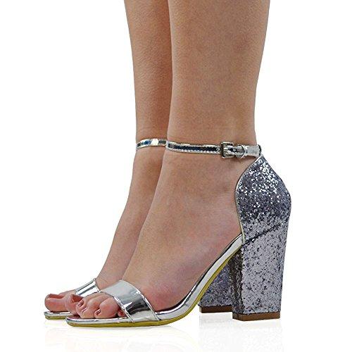 ESSEX GLAM Damen Blockabsatz Glitzer Sandalen Synthetik Knöchelriemchen Schuhe Silber Metallisch