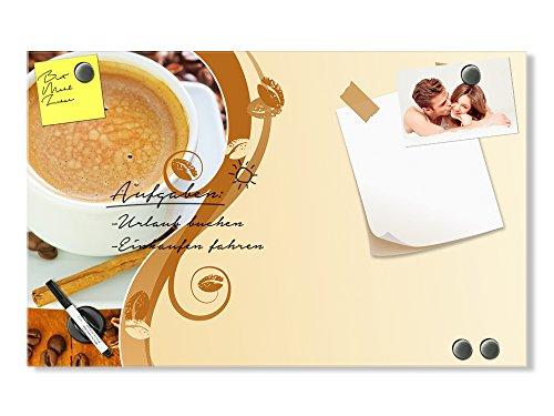 GRAZDesign 501631_100x60_GL_MT Glas-Magnettafel für Küche | Memo-Board beschreibbar Kaffee - Tasse...