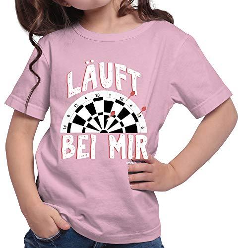 HARIZ  Mädchen T-Shirt Läuft Bei Mir 2 Dart Sprüche Männer Weltmeisterschaft Inkl. Geschenk Karte Rosa 164/14-15 Jahre