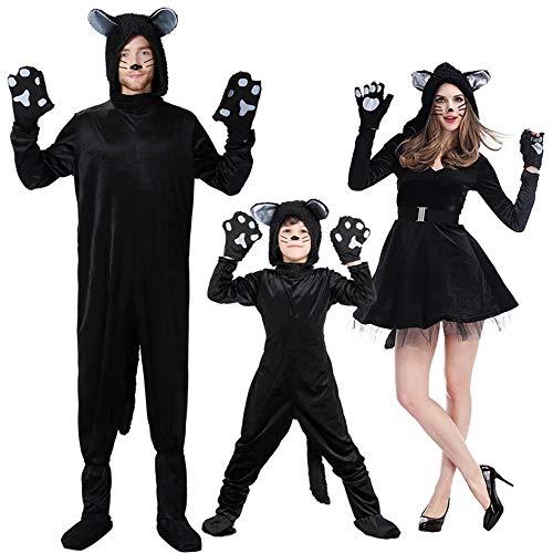 Batman's Kostüm Eltern - Amatop Schwarze Katze Halloween-Kostüm , 3Sets Schwarze Katze Cosplay Familie Halloween-Kostüm für Kinder Eltern-Kind-Anzug-Black Friday Dress Up - Lustige Tierkostüme