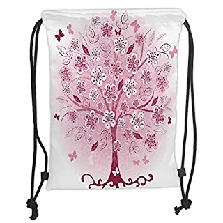 Drawstring Backpacks Bags,House Decor,Decorative Bonsai Tree with Flowers Leaves and Butterflies Fantasy Ornate Illustration,Burgundy Pink Soft Satin,5 Liter Capacity,Adjustable St