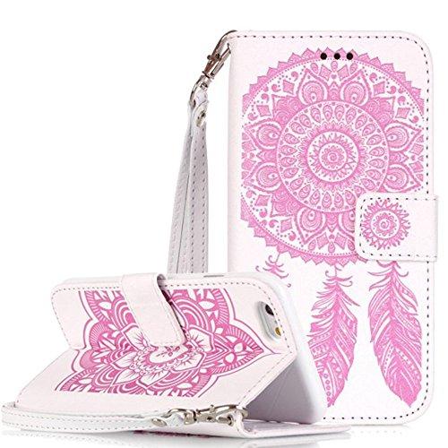 Apple iPhone 6Plus Custodia in pelle Flip Wallet Cover Case, Nnopbeclik Folio PU Leather Case Fiore Stampa campanula diamante bling strass Bling Diamante Custodia a Libro Cassa vera strass di alta qu bianco-rosa