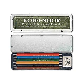 KOH-I-NOOR 5217 - Druckbleistifte inkl. 1 x Radiergummi im Metalletui, unterschiedliche Farben - 6 Stück