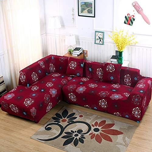 Morbuy copridivano classico copridivano elasticizzato fodera copridivani universale per divano con corda fissa sofa protettore copertura divano antiscivolo (4 posti,rosso)