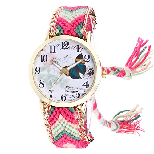 350d77e797ad Gysad Reloj de Pulsera Estilo Hippie Reloj de Cuarzo Mujer Patrón de  Mariposa Reloj de Pulsera