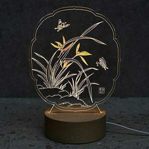 Perlmutt Kunst Led Holz Nachttischlampe Wohnkultur Tisch Schlafzimmer Stimmung Lampe Licht Größe: 4,9