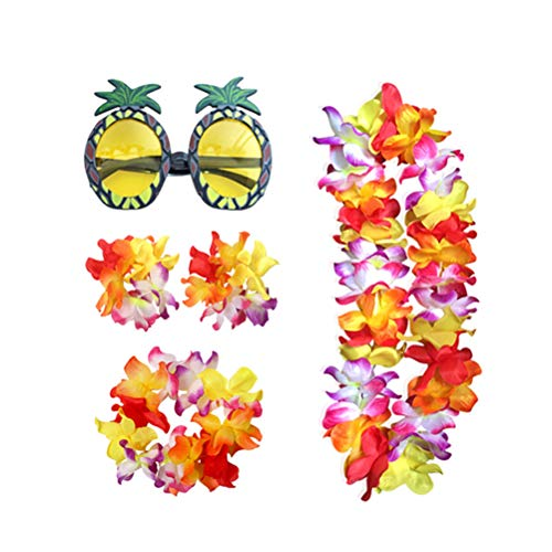 TOYANDONA 5pcs Hawaii Kränze Leis Luau Blatt Luau Sonnenbrillen Beach Party Spass Brille