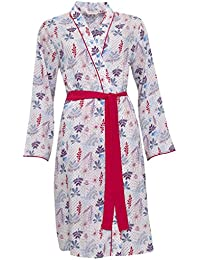 Cyberjammies 3282 Women's Heidi Blue and Red Floral Modal Dressing Gown Loungewear Bath Robe Robe