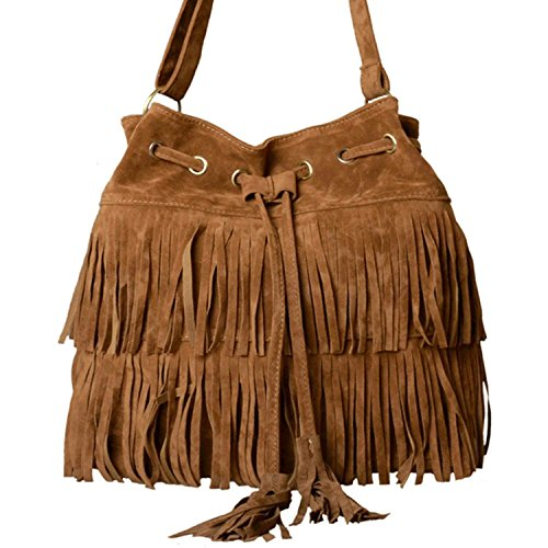 Minetom Fashion Fransen Damentasche Lady Hot Fringe Tassel Faux Suede Shoulder Messenger Umhängetasche Handtasche Taschen Schultertasche ( Braun ) (Fransen Herz)