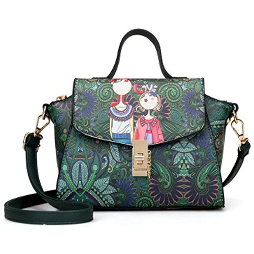 Mini Sacs à Main Femme Vintage Imprimé Sac à bandoulière Mode Sac Bandouliere en Cuir PU Crossbody Messenger Bag Sac d'épaule Pour Filles Petite Vert