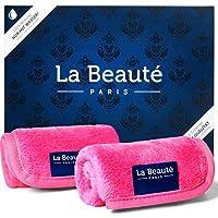 LA BEAUTÉ - Make-Up Entferner Tuch - Mikrofaser Abschminktuch - Gesichtsreinigung und Abschminken nur mit Wasser - hypoallergen (21 x 21 cm | 2 Stück | Double Pack | Pink)
