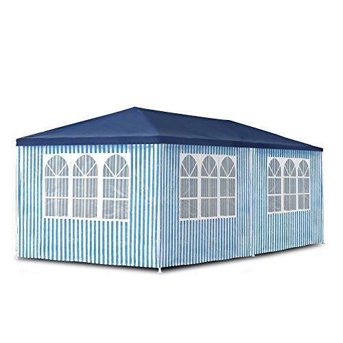 JOM Gartenpavillon 3 x 6 m, Pavillon, Pavillion, Partyzelt, Festzelt, Gartenzelt, mit 6 Seitenwänden 110G PE