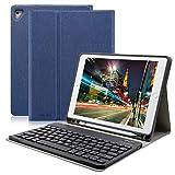 Clavier Bluetooth iPad Coque 9.7,AZERTY français, Housse Clavier pour iPad 2018/2017, iPad Pro 9.7, iPad Air 2/1, Clavier Bluetooth sans Fil Slim Etui Smart Réveil/Sommeil Automatique (Bleu Fonce)