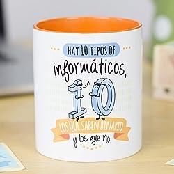 La Mente es Maravillosa | Taza cerámica de café o desayuno | Regalo original para INFORMATICO | RESISTENTE 100% al microondas y lavavajillas | Taza con mensaje divertido de amistad | BONITA y EXCLUSIVA | esmaltado especial brillante de GRAN CALIDAD | frases y dibujos creativos grabados en la superficie | perfecto para cualquier bebida, infusión o té | Binario