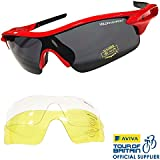 VeloChampion Warp Cycling Running Sports Sunglasses - (with 3 lens: inc smoked, clear) Red Frame