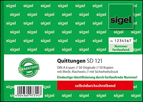 Sigel SD121 Quittungsblock fortlaufend nummeriert, A6 quer, 2x50Blatt, selbstdurchschreibend