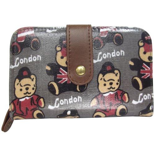 UKFS Jack London Teddybär Geldbeutel / UK Design Öl-Stoff Clutch / Kupplung Tasche (Licht Rosa) Grau