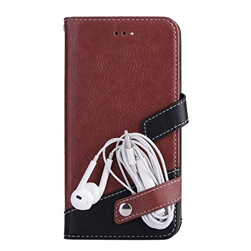 EKINHUI Case Cover Litchi Texture Dual Farbe Stitching Pattern Synthetik Leder Tasche Cover Flip Stand Case mit Lanyard & Card Slots für iPhone 7 Plus ( Color : Pink ) Brown